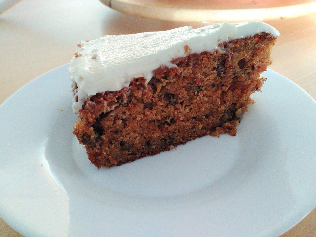 Foto Porción de pastel de zanahorias estilo Starbucks
