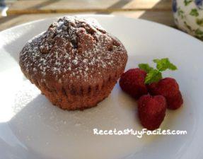 Foto muffins caseras de chocolate