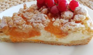 Receta tarta de albaricoques con crumble